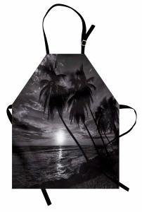 Denizde Gün Batımı Mutfak Önlüğü Palmiyeler Siyah