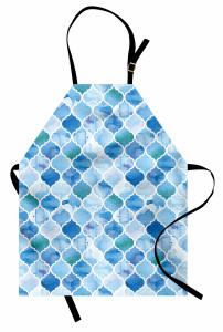 Dekoratif Fas Desenli Mutfak Önlüğü Mavi Şık Tasarım
