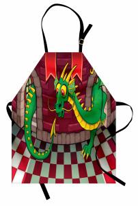 Kaledeki Ejderha Mutfak Önlüğü Kareli Zemin