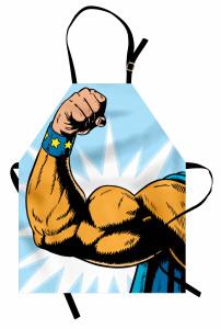 Kaslı Erkek Desenli Mutfak Önlüğü Karikatür Etkili