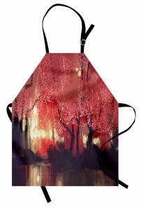Kırmızı Ormanda Gece Mutfak Önlüğü Fantastik