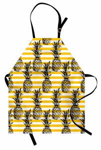 Ananas Desenli Mutfak Önlüğü Dekoratif Çizgili Şık