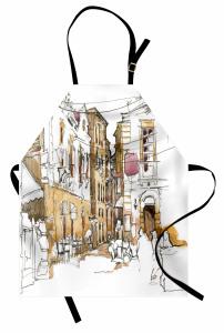 Nostaljik Sokak Desenli Mutfak Önlüğü Mimari Etkili