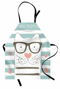 Gözlüklü Şirin Kedi Mutfak Önlüğü Çizgili Kalpli