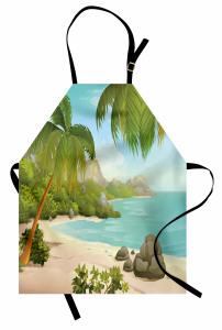 Cennet Plajında Tatil Mutfak Önlüğü Tropikal Ada
