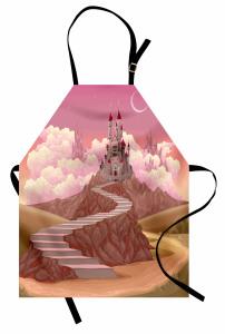Masal Kalesi ve Gökyüzü Mutfak Önlüğü Şık Tasarım