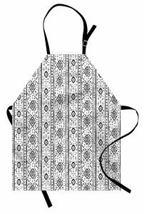 Sİyah Beyaz Motifler Mutfak Önlüğü Siyah Beyaz Şık