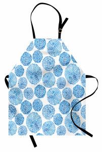 Mavi Japon Çiçekleri Mutfak Önlüğü Sulu Boya