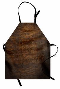Dekoratif Ahşap Desenli Mutfak Önlüğü Kahverengi