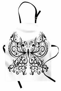 Aşk Kelebeği Desenli Mutfak Önlüğü Siyah Beyaz Kalpli