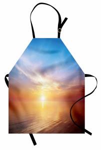 Denizde Gün Batımı Mutfak Önlüğü Doğada Huzur Gökyüzü