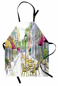 Sarı Masalı Kafeler Mutfak Önlüğü Mimari Dekoratif