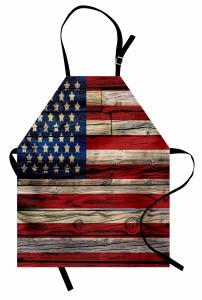 Amerikan Bayrağı Mutfak Önlüğü Ahşap Dokulu