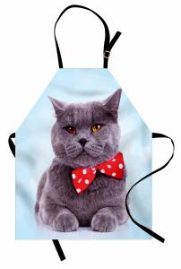 Papyonlu Kedi Desenli Mutfak Önlüğü Gri Mavi Kırmızı