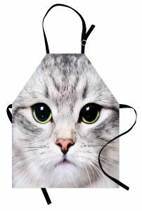 Sevimli Kedi Desenli Mutfak Önlüğü Gri Şık Tasarım