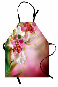 Pembe Beyaz Çiçekler Mutfak Önlüğü Şık Tasarım