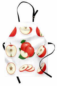 Kırmızı Kesik Elmalar Mutfak Önlüğü Mutfak Dekoru