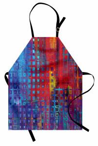 Karışık Geometrik Desen Mutfak Önlüğü Mavi Kırmızı