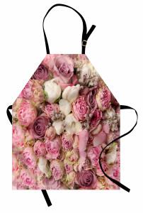Pembe Beyaz Güller Mutfak Önlüğü Romantik Şık