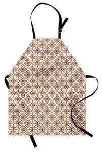 Oryantal Çiçek Desenli Mutfak Önlüğü Kahverengi Şık