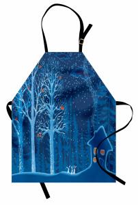Karlı Ormandaki Kulübe Mutfak Önlüğü Ağaç Kuş Tavşan