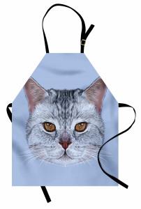 Sevimli Kedi Portresi Mutfak Önlüğü Dekoratif Şık