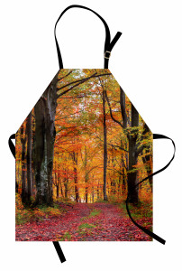 Ormanda Sonbahar Sabahı Mutfak Önlüğü Yaprak Ağaç Doğa