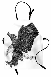 Uçan Kartal Desenli Mutfak Önlüğü Siyah Beyaz Şık