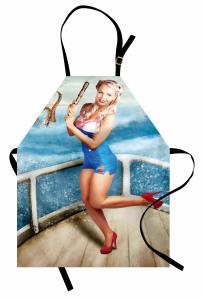 Denizci Sarışın Kız Mutfak Önlüğü Mavi Deniz Gemi