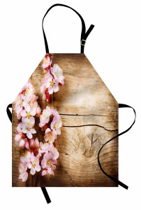 Ahşap Üstü Pembe Çiçek Mutfak Önlüğü Dekoratif