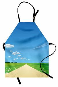 Papatyalı Kır Yolu Mutfak Önlüğü Mavi Gökyüzü