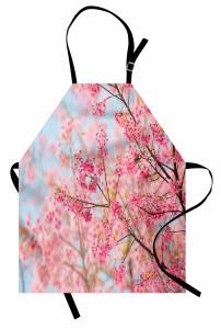 Pembe Kiraz Çiçekleri Mutfak Önlüğü Dekoratif Şık