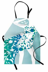 Çiçekli Elbiseli Kız Mutfak Önlüğü Mavi Yeşil