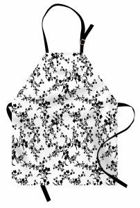 Zarif Çiçekli Desen Mutfak Önlüğü Siyah Beyaz Şık