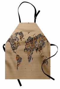 Dünya Sanayi Haritası Mutfak Önlüğü Bej Dekoratif