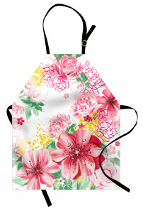 Çeyizlik Pembe Çiçekli Mutfak Önlüğü Şık Tasarım