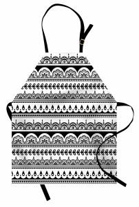 Etnik Çiçek Desenli Mutfak Önlüğü Siyah Beyaz Şık