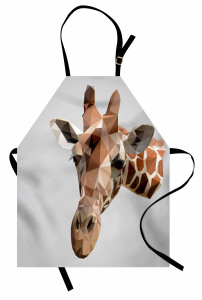 Geometrik Zürafa Mutfak Önlüğü Kahverengi