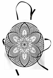 Siyah Beyaz Mandala Mutfak Önlüğü Dekoratif