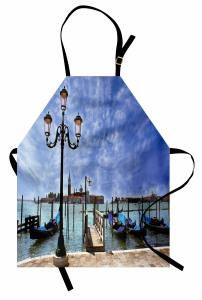 Venedik Gondolları Mutfak Önlüğü Mavi Gökyüzü İtalya