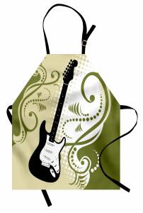 Dekoratif Gitar Desenli Mutfak Önlüğü Şık Tasarım
