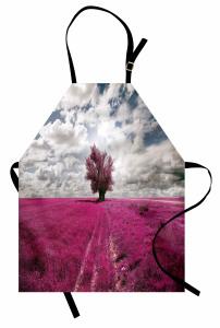 Mor Çiçek Tarlası Mutfak Önlüğü Ağaç Gökyüzü Bulut