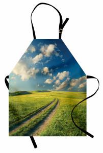 Çimenli Yol ve Bulutlar Mutfak Önlüğü Yeşil Doğa