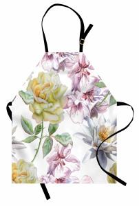 Sulu Boya Çiçekli Desen Mutfak Önlüğü Çeyizlik Şık