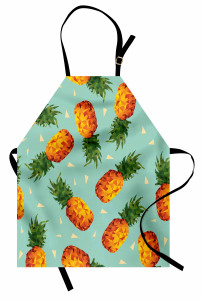 Üçgenli Ananas Desenli Mutfak Önlüğü Şık Tasarım