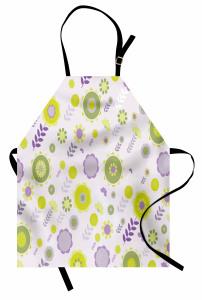 Şık Çiçek ve Yaprakları Mutfak Önlüğü Mor Yeşil