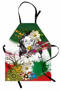 Çiçekli Güzel Kız Mutfak Önlüğü Dekoratif