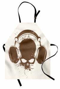 Kulaklıklı Kuru Kafa Mutfak Önlüğü Müzik Trend