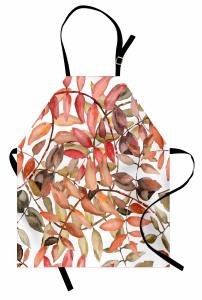 Yaprak Desenli Mutfak Önlüğü Pembe Kahverengi Şık