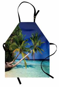 Cennet Plajı ve Palmiye Mutfak Önlüğü Mavi Gökyüzü